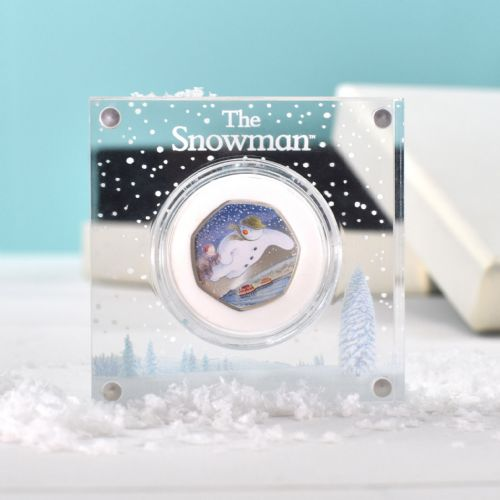 Silver Proof Snowman 50p Royal Mint Coin in a Deluxe Personalised Gift Box